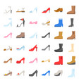 woman fashion shoes high heel and boot icon set vector image