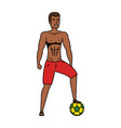 young athletic black man playing soccer vector image vector image