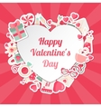 Valentines Day Banner with Flat Icons and Heart vector image