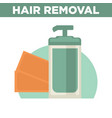 hair removal promotional poster with bottle of vector image
