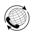 Globe and phone receiver vector image
