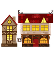 medieval house and tavern vector image