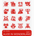 alice in wonderland icon set vector image