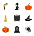 All saints day icons set flat style vector image