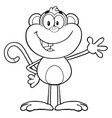 black and white monkey cartoon character vector image vector image