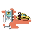 Booking taxi via mobile app vector image