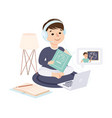 boy sitting on floor and read textbook kid desk vector image