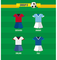 Brazil Soccer Championship 2014 Group D team vector image vector image