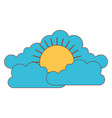 cloud cumulus and sun flat icon in colorful vector image