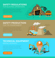 coal mining 3 flat interactive banners vector image