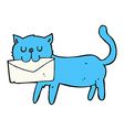 comic cartoon cat carrying letter vector image vector image