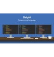 Delphi programming language code vector image vector image