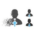 dissolved dot halftone catholic priest icon vector image vector image