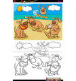 dogs on vacation group coloring book vector image