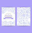 doodle wedding invitation template poster vector image vector image
