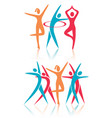 fitness dance women icons vector image vector image