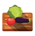fresh cabbage tomato eggplant on a cutting board vector image vector image