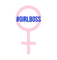 girl boss hash tag at pink abstract girls symbol vector image vector image