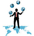 Global business man juggles business worlds vector image vector image