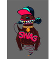 hip-hop poster with dog rap music swag culture vector image vector image