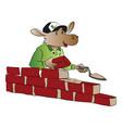 hippopotamus building a brick wall vector image