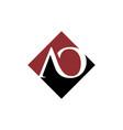 initial ao rhombus logo design vector image vector image