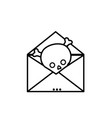 line e-mail letter message with danger skull virus vector image vector image