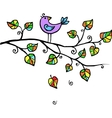 little violet bird in leaves vector image