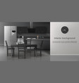 modern kitchen interior realistic mockup vector image vector image