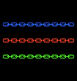 Neon glowing chain on a black background vector image vector image