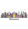 outline anama ahrain city skyline with color vector image vector image