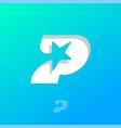 p letter with star power logo monogram vector image