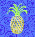 Pineapple juice cocktail design elements vector image