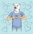 polar bear valentine day concept vector image vector image