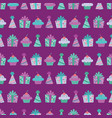 purple birthday items seamless pattern vector image vector image