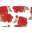 seamless pattern with red rose flowers on white vector image vector image