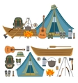set camping objects and tools isolated vector image