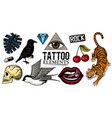 set fashion patches tattoo artwork for girls vector image vector image
