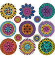 Set large and small colored mandalas vector image vector image