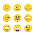 set of happy yellow emoticons funny cartoon flat vector image vector image
