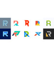 set of letter r logo vector image