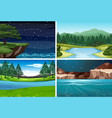 set of nature scene vector image