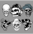 set skull in hand drawing style vector image vector image