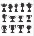 sports trophies and awards retro black collection vector image vector image