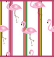 striped seamless pattern with flamingos vector image