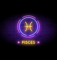 the pisces zodiac symbol in neon style on a wall vector image vector image