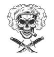 vintage skull in navy seal beret vector image vector image