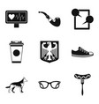 walking around city icons set simple style vector image