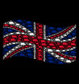 waving british flag mosaic of fast delivery car vector image