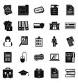 writing icons set simple style vector image